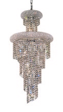 Elegant 1800SR16C/RC - 1800 Spiral Collection Hanging Fixture D16in H36in Lt:10 Chrome Finish (Royal Cut Crystals)