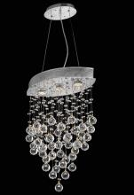 Elegant 2025D18C/EC - 2025 Galaxy Collection Hanging Fixture W10in D18in H26.5in Lt:3 Chrome Finish  (Elegant Cut Crystals