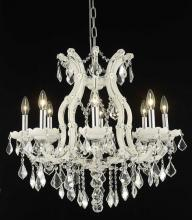 Elegant 2800D26WH/RC+SH-2R30S - 2800 Maria Theresa Collection Hanging Fixture w/ Silver Round Shade D30in H26in Lt:8+1 White Finish