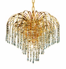 Elegant 6801D19G/EC - 6801 Falls Collection Pendant D:19in H:16in Lt:6 Gold Finish (Elegant Cut Crystals)