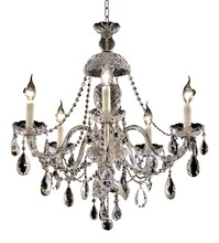 Elegant 7829D25C/RC - 7829 Alexandria Collection Chandelier D:25in H:28in Lt:5 Chrome Finish (Royal Cut Crystals)