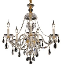 Elegant 7829D25G/RC - 7829 Alexandria Collection Chandelier D:25in H:28in Lt:5 Gold Finish (Royal Cut Crystals)