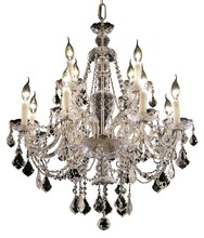 Elegant 7831D28C/RC - 7831 Alexandria Collection Hanging Fixture D28in H31in Lt:8+4 Chrome Finish (Royal Cut Crystal)