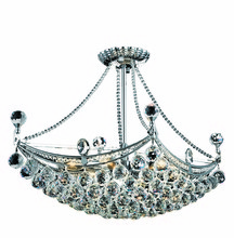 Elegant 9800D24C/RC - 9800 Corona Collection Hanging Fixture L24in W14in H18in Lt:6 Chrome Finish (Royal Cut Crystals)